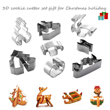 3D Stainless Steel Christmas Holiday Scenario Cookie Cutter Set Metal Cookie Mold Fondant Cutter Animal Tree Deer Snowman Sled(China)