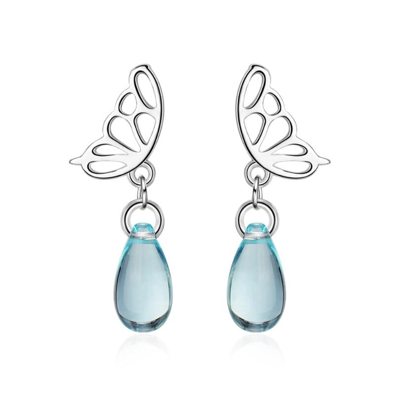 925 Silver Plated Crystal Dragonfly Drop Dangle Ear Hook Earrings Women Jewelry
