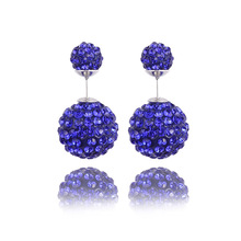 2017 Hot Bijoux Fashion Charm Double Crystal Cubic Zircon Ball Wedding Stud Earrings Women's Elegant Jewelry Gift Free Shipping