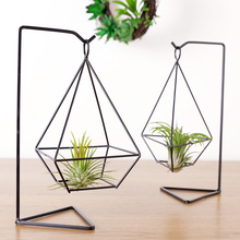 Mkono Air Plant Holder Himmeli Metal Stand Desktop Planter for Hanging Airplant Tillandsia, with Stand, Diamond Shape