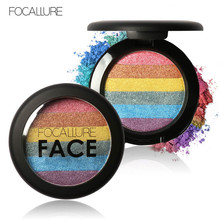 FOCALLURE New Rainbow Highlighter Makeup Palette Cosmetic Blusher Shimmer Powder Contour Eyeshadow Face Changing Highlight(China)