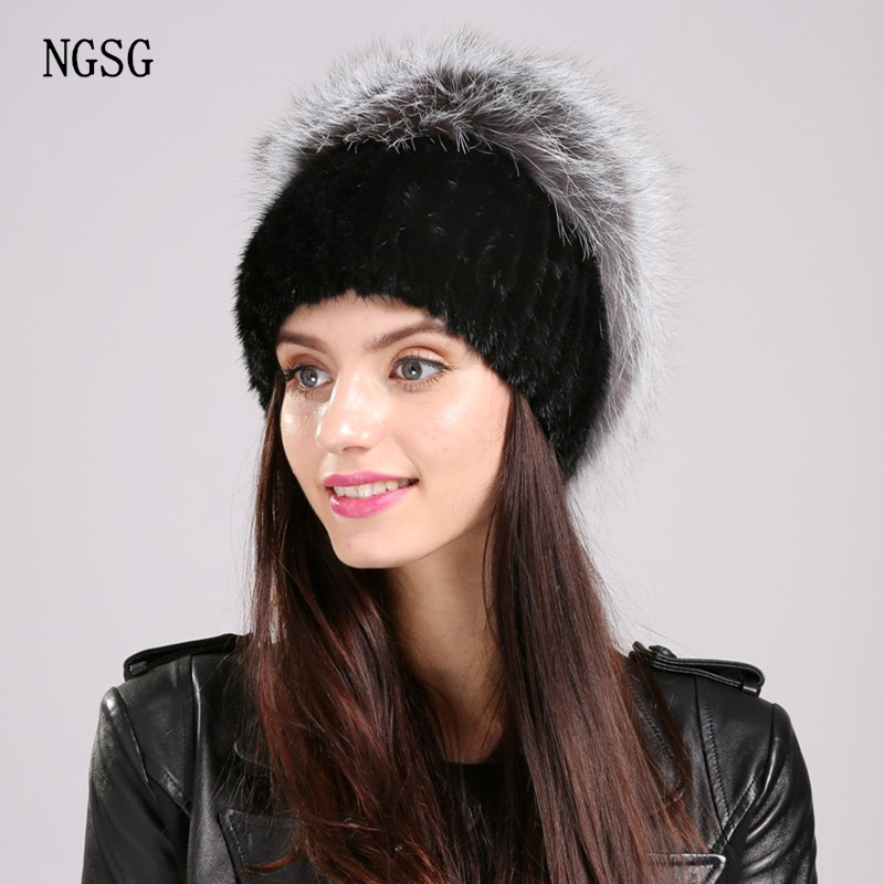 2017 New Fur Hat Real Mink Fur Brand Name NGSG Winter Hats Fast Delivery Beanies  Young Casual Type Genuine Material  EA4050-24