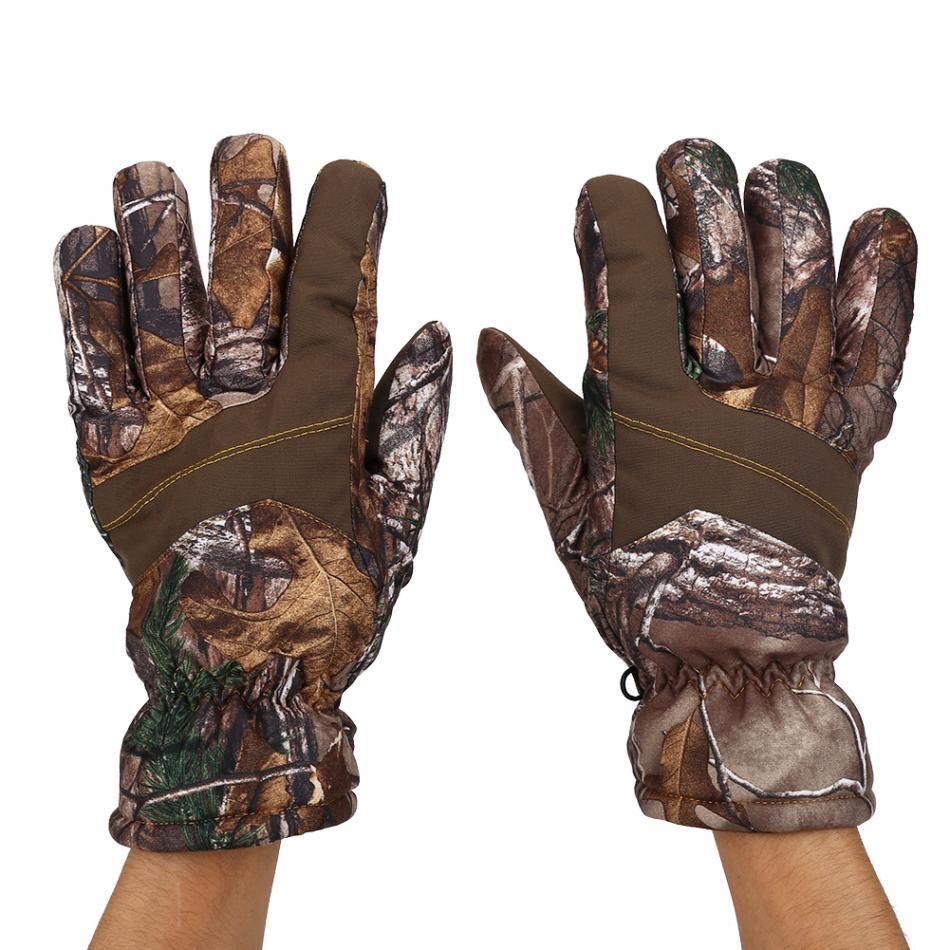 1 Paio Uomo Inverno Anti-Scivolo Impermeabile Dito Pieno Caldo Guanti Camouflage per Caccia Sci Guanti da Caccia