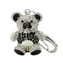 Crystal keychain bear Model USB 2.0 Flash Memory Stick cartoon diamond Pen Drive 128GB 16GB 32GB usb flash disk(China)