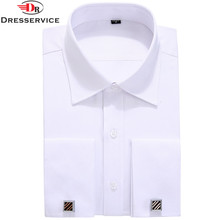 DRESSERVICE Size M-6XL Men French Cufflinks Shirt New Men's Shirt Long Sleeve Casual Male Brand Shirts Slim French Cuff Dress