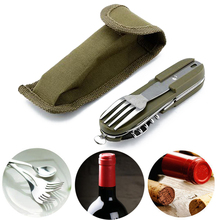 Army Green Folding Portable Stainless Steel Camping Picnic Cutlery Fork Spoon Bottle Opener Flatware Tableware Travel Kit Pouch