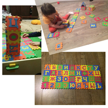 36pcs 90* 90mm Kids baby play mat puzzle mats carpet rugs babies puzzle 33PCS Russian Language & 3PCS number of foam(China)
