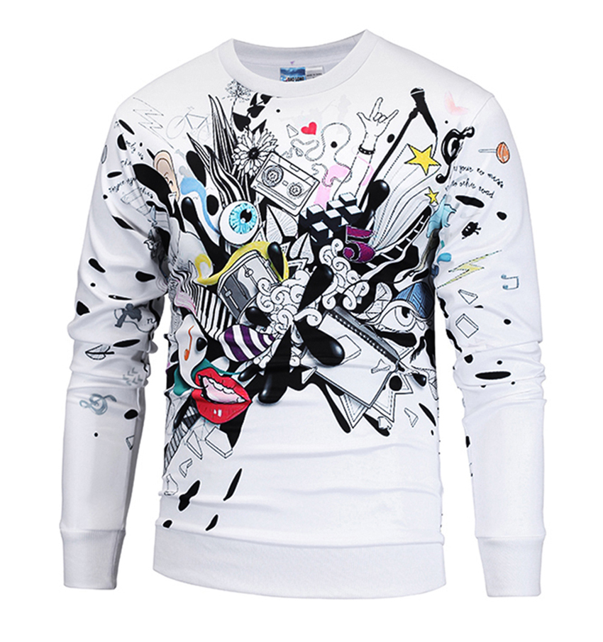 2018 New Men Women Hoodies Creative Music Festival Printing Full Sleeve O-Neck 96% Polyester 4% Spandex M to XXL 3D Sweatshirts