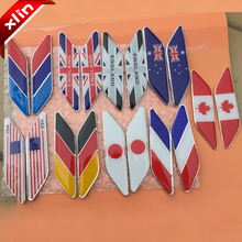 10pairs Japan USA Germany France England Canada Australia M Russia National flag logo side Car rear Emblem decoration Sticker(China)