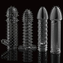 Buy Reusable condom lube Textured Extender Sleeve screw thread Penis cover Cock Ring dildo sheath Condoms coque Sex Toys Men