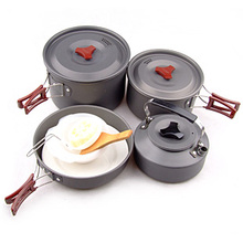 4-5 person (4pcs/set) Outdoor Cookware Set Camping Cooking Pot Pan Coffee Kettle Set RT-205
