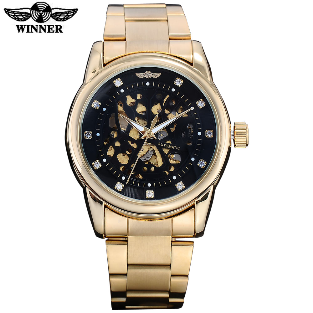 WINNER men fashion luxury mechanical watches steel band gold case casual brand skeleton automatic wristwatches relogio masculino<br><br>Aliexpress
