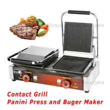 Contact Grill Electric Griddle with Double Heads Groove Plates_Commercial Panini Grill Sandwich Maker