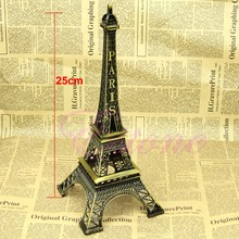 25CM Bronze Tone Paris Eiffel Tower Figurine Statue Vintage Alloy Model Decor APR27