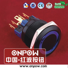 ONPOW 22mm black momentary ring illuminated pushbutton switch GQ22-11E/B/12V/A(China)
