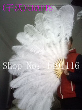new! Quality ostrich feather fan, DIY holiday party, stage performance, home decoration as shown in Figure 13 fan bone(China)