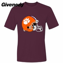 Orange helmet Clemson University team logo Men's  Retro 100% cotton short sleeve T Shirt
