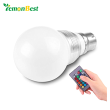 LemonBest 3W B22 16 Colors Changing RGB LED Light Blub for Home Bayonet Bulb with Remote Control Lamp AC85-240V