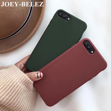 Lovely Candy Color Soft TPU Phone Case For iPhone X 6s 6plus Case Retro Wine Red Dark Green Back Cover For iPhone 7 8 Plus Cases(China)