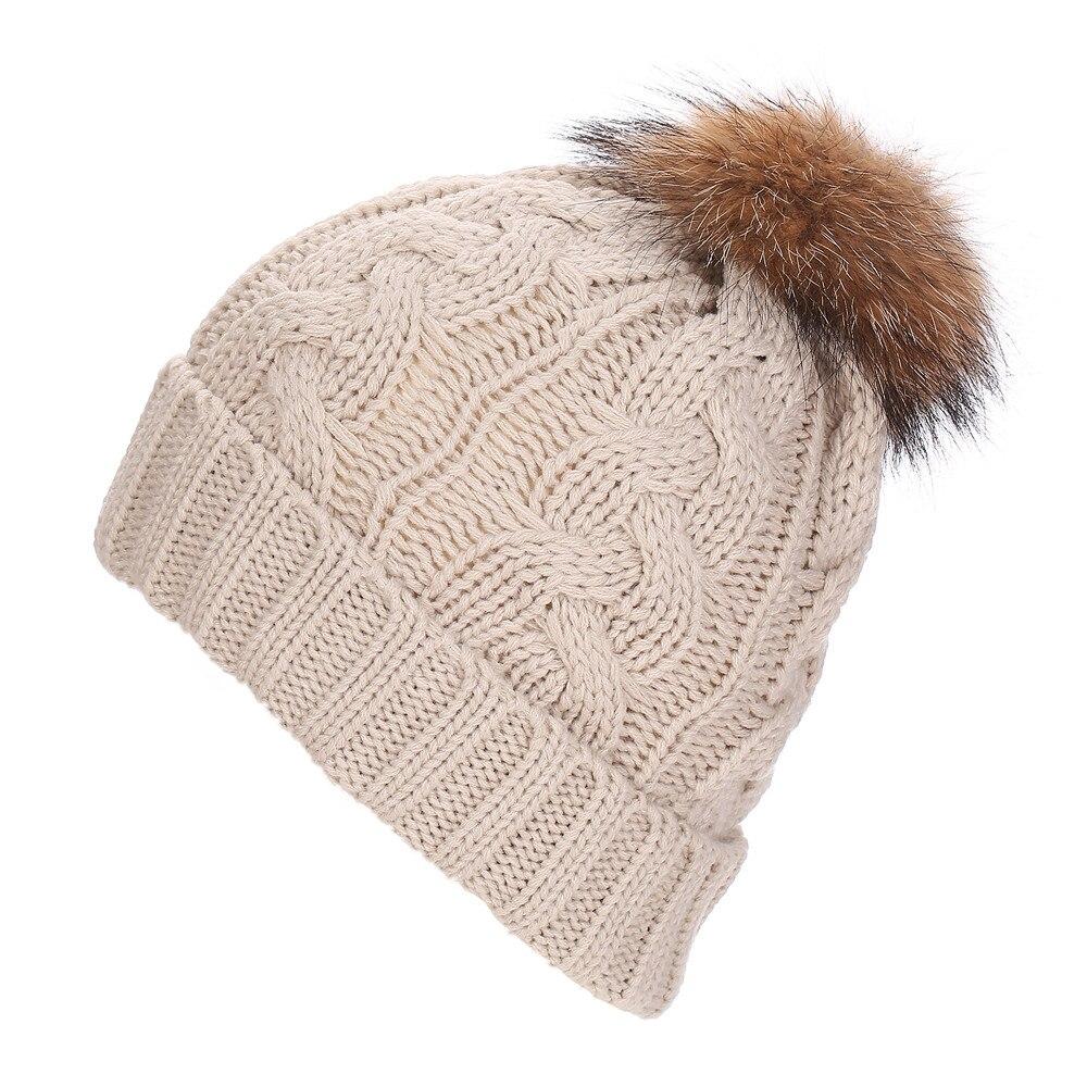 Women Crochet Hat Fur Woolen Knit Beanie Raccoon Warm cap winter hat bone Beanie hats for women winter hats for women pokemonÎäåæäà è àêñåññóàðû<br><br><br>Aliexpress