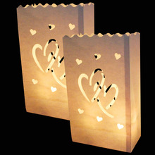 20Pcs/lot Double Heart Tea light Holder Luminaria Paper Lantern Candle Bag For Christmas Party Wedding Decoration Products