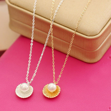 New Hot Fashion Gold-color Sea Shell Necklaces For Women Simple Pearl Pendant Necklaces 5N289