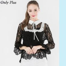 ONLY PLUS Black Lace Tops Crochet Crop Sexy Hollow Out Stitching Collar Tops Fashion Keyhole Back Lace Flare Sleeve Bl(China)