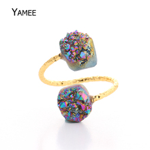 Hot! Handcraft Gift Double Stone Druzy Ring for Women Men Gold Coated Raw Crystal Drusy Titanium Quartz Jewelry Rings Adjustable