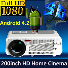 Dual Core Android 4.2.2 WiFi Smart 5500lumens Full HD 3D LED Projector Digital 1080P LCD Home theater TV Proyector Beamer