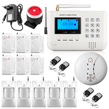 New arrival 433Mhz Remote Control Wireless GSM PSTN network Security Alarm System Auto Dial with Smoke Detector Home Alarm