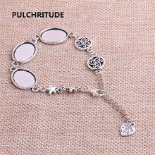 PULCHRITUDE 3pcs 22cm Alloy Antique Silver Chain Bracelet Hand Charm Round Cabochon base Setting Fit 18*13mm Dia Women Z0032