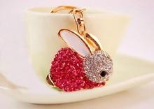 3pcs Crystal Key Chain Rabbit Full Rhinstone Holder Animal HandBag Pendant For Car KeyRing Keychains Girl Birthday Gift
