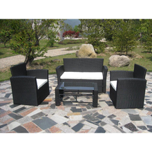 iKayaa Garden Set of black poly rattan furniture garden ES Stock