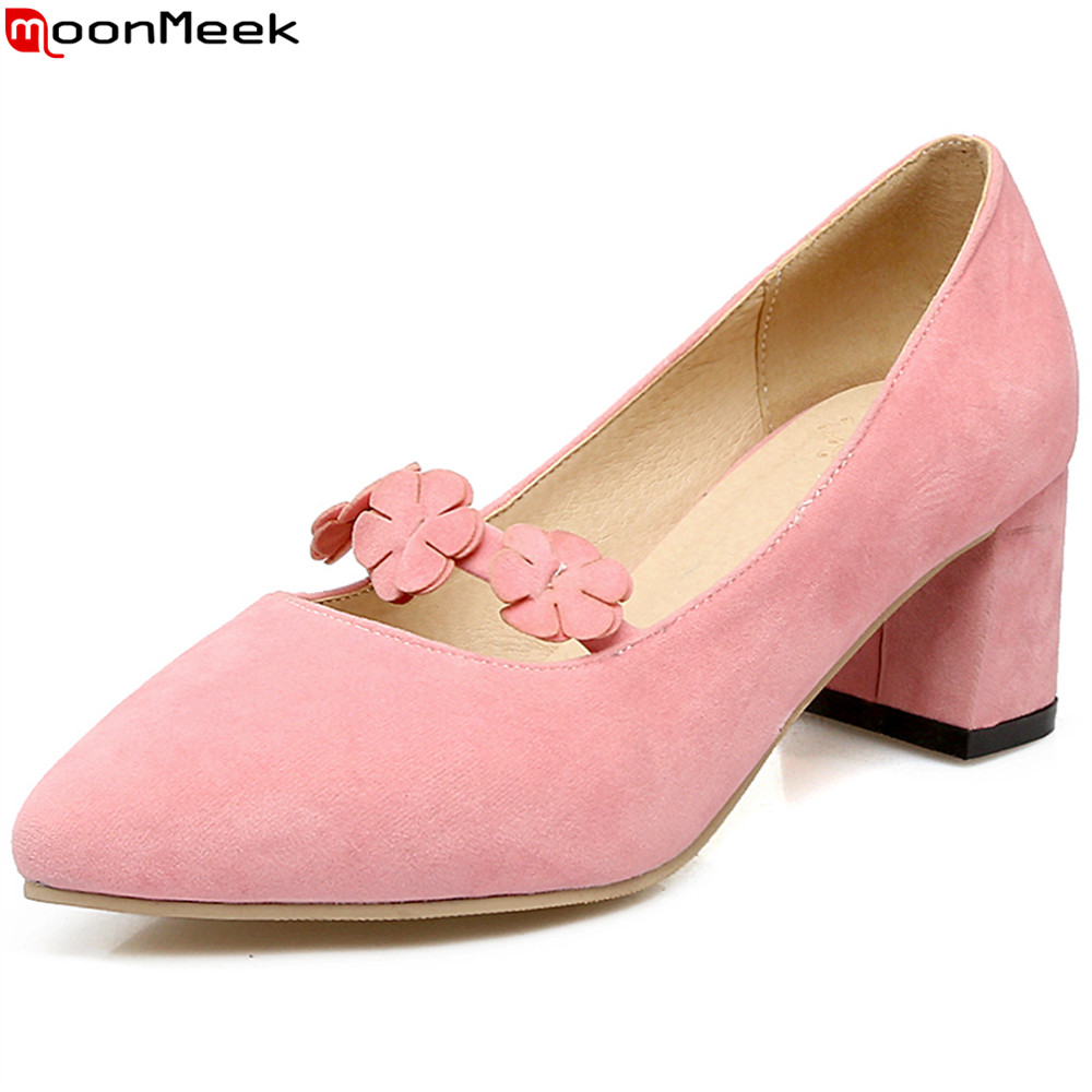 MoonMeek spring summer sweet pumps women shoes with flower slip on shallow pointed toe square heel flock high heel ladies shoes<br>