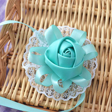 12pces/lot tiffany blue bride bridesmaid wrist flowers bouquets sister hand flower corsages tiffany blue ribbon rose for wedding