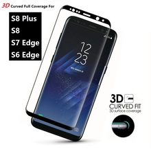 3D Curved Full Cover Tempered Glass Screen Protection Film For Samsung Galaxy S8 Plus S6 Edge S7 Edge Glass Protection Film Foil(China)
