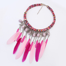 Torques Collar Necklace Resin Feather Pendants & Necklaces African Jewelry Charm Necklace Tassel Fashion Jewellery Accessories