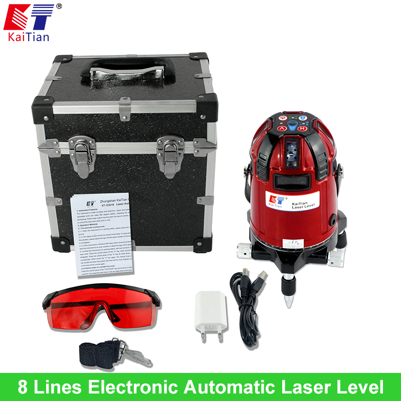 KaiTian Rotary Laser Level 8 Lines with Electronic Automatic Outdoor Tilt Slash Function Euro Plug 635nM Cross Lazer Level China(China (Mainland))