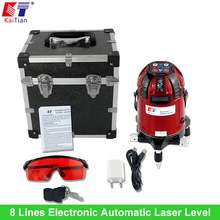 KaiTian Rotary Laser Level 8 Lines with Electronic Automatic Outdoor Tilt Slash Function Euro Plug 635nM Cross Lazer Level China(China)
