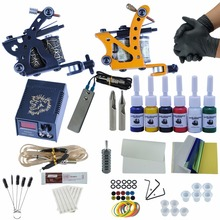 Complete Tattoo Machine Black Gun Kit 6 Colors  Pen Tattoo Pigment Tips LCD Power box Supply Beginner Makeup Accesories