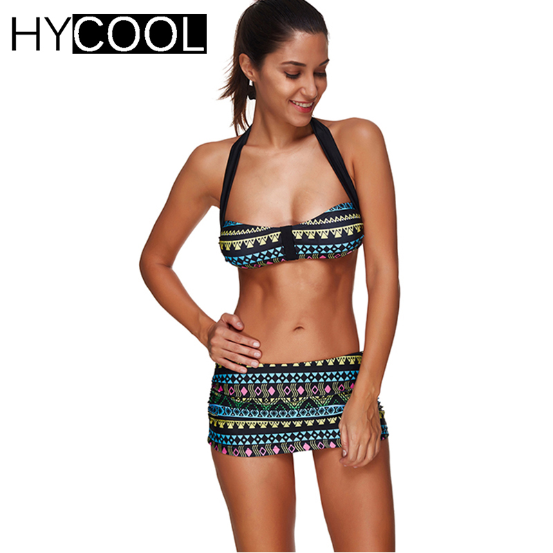 HYCOOL Brazilian Bikini Set Women Swimsuit 2017 Bathing Suit Sexy Print Swim Suit Women Swimwear Mini Skirt Biquini Sport S-3XL<br>