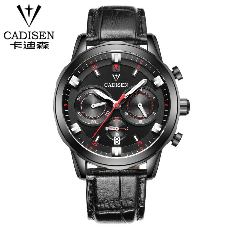 CADISEN Watch Men quartz-watch Clock Men Luxury Brand Leather Army Military Wrist Watch relogios masculinos reloj hombre 2016<br>