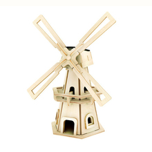 MACH Best Sale Robotime Solar Powere DIY Jigsaw Wood Winnower Kits Windmill 3D Puzzle Child Educational Toys Birthday Gift