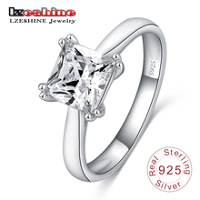 Buy LZESHINE Women Rings 100% 925 Sterling Silver Square Shape CZ Stone Jewelry Engagement Rings female Anel Bijoux SRI0048 for $5.88 in AliExpress store