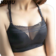 Women Sexy Black Lace Bra Translucent Push Up Underwears Cross Detachable Shoulder Strap Wire Free Bras 34 38B 3/4 Cup 8AD141