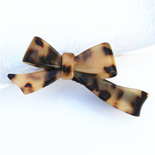 Buena Top Quality Fancy Leopard Hair Barrettes Bow Cellulose Acetate Charming French Barrette SA048