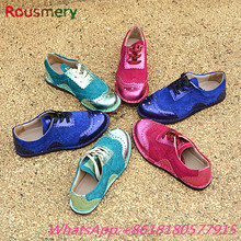 Fashion Mixed Colors Round Toe Lace-Up Woman Flats Colorful Leather Casual Sheos Woman Spring Autumn Bling Comfortable Shoes