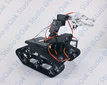 Aluminum  Alloy Tank with 6 DOF Vehicle-Mounted Robot Arm TR001,,Aluminum Alloy Claw,6pcs High Torque Servos for Robot DIY Study