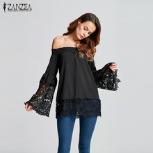 Buy ZANZEA Women Blouses 2018 Shoulder Shirts Sexy Slash Neck Flare Sleeve Lace Crochet Blusas Casual Tops Plus Size S-5XL for $8.55 in AliExpress store
