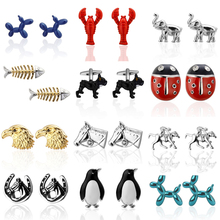 Free shipping High Quality Animal Cufflinks Superheroes designs copper material men dog fish cufflinks whoelsale&retail